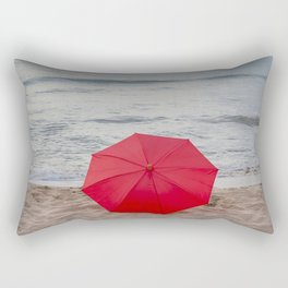 Red Umbrella lying at the beach III Rectangular Pillow
