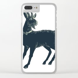 The Goat Wearing Bow Tie Scratchboard Clear iPhone Case