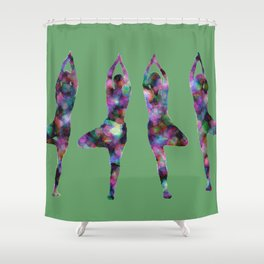 Four Trees green Shower Curtain
