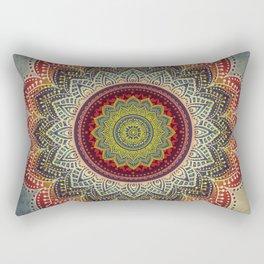 Retro Folk Art - Spirit Lotus Mandala Blue Red Rectangular Pillow