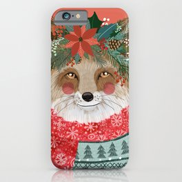 Christmas Fox with Winter floral crown iPhone Case