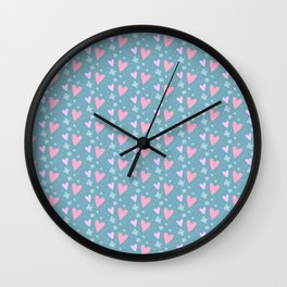 Abstract pink turquoise romantic hearts floral pattern Wall Clock