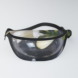 white freesia in a glass Fanny Pack