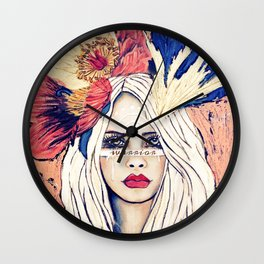 WARRIOR GIRL PAINTING Wall Clock