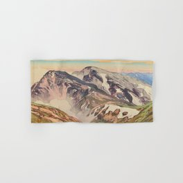 Hakuba Mountain Hiroshi Yoshida Vintage Japanese Woodblock Print Hand & Bath Towel