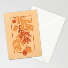 Autumn oak leaves and acorns pattern (Warm autumn colors) Stationery Cards