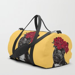 French Bulldog with Rose Flower Crown in Yellow Duffle Bag
