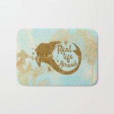 Real life Mermaid - Gold glitter lettering on aqua glittering backround Bath Mat