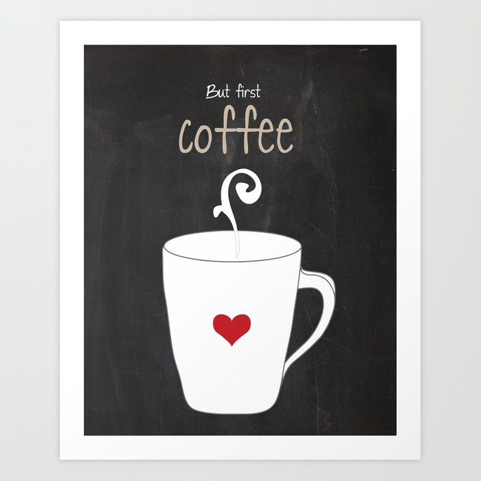 But First Coffee Black And White Red Print Kitchen Art Printable Wall Decor Typography Poster