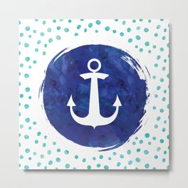 Watercolor Ship's Anchor Metal Print