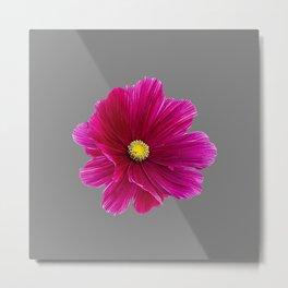 FUCHSIA PINK FLOWER ON CHARCOAL GREY ART Metal Print