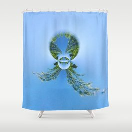 blue green planet bug Shower Curtain