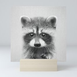 Raccoon - Black & White Mini Art Print