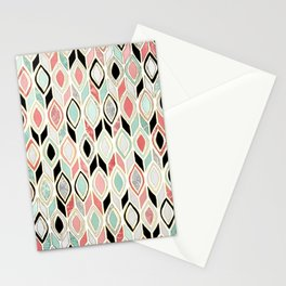 Patchwork Pattern in Coral, Mint, Black & White Stationery Cards