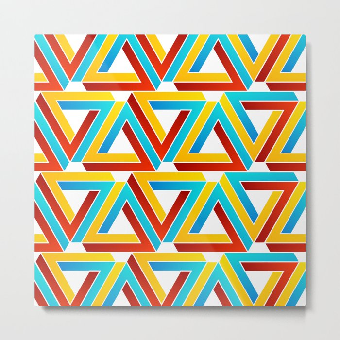 Colorful Penrose triangles- optical illusion backdrop Metal Print
