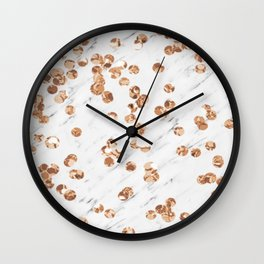 Rose gold crystals - white marble Wall Clock