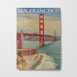 Vintage Commercial Travel Poster Colorful Vintage Art San Francisco Metal Print