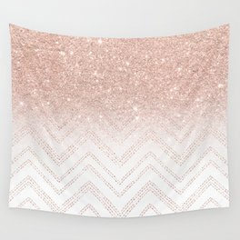 Modern faux rose gold glitter ombre modern chevron stitches pattern Wall Tapestry