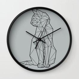 gray geometric cat Wall Clock