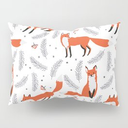 Red foxes and berries in the winter forest Pillow Sham