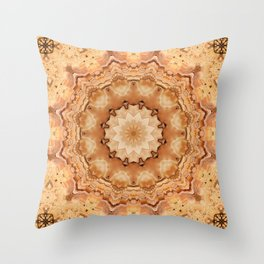 Round ornaments kaleidoscope yellow . Mandala . Throw Pillow