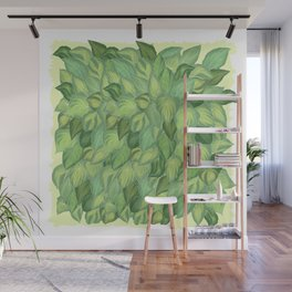Citric Hostas, leaves arrangement in a tower shape Wall Mural
