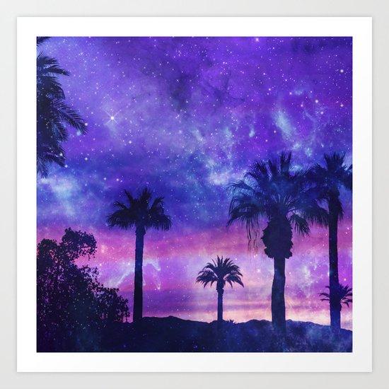 Palm Beach Galaxy Universe Watercolor Art Print