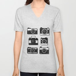 Vintage Camera Illustration Unisex V-Neck