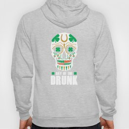 St. Patricks Day Sugar Skull Clover Day Of The Drunk Hoody