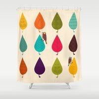 leaves Shower Curtains featuring Leaves by Kakel