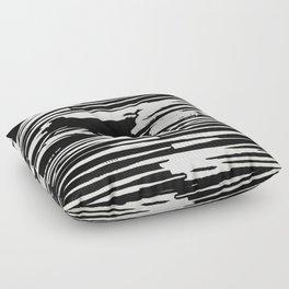 Modern Tribal Stripe Ivory and Black Floor Pillow