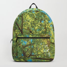 Canopy of trees with sun beaming through in vivid green and blue Backpack