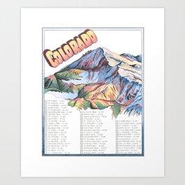 Colorado 14ers Checklist Art Print