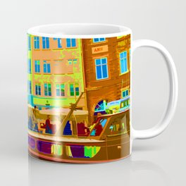 Harbour side Denmark Nyhavn Dayglo Print Coffee Mug
