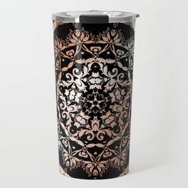 Rose Gold Black Damask Mandala Travel Mug