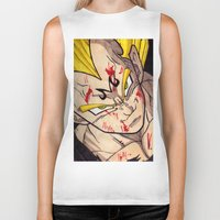 vegeta Biker Tanks featuring Vegeta by DeMoose_Art
