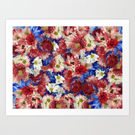 Red White Blue Flora Art Print