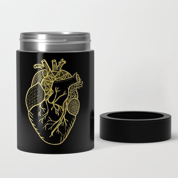 Designer Heart Gold Can Cooler