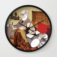 freud Wall Clocks featuring Freud analysing Shakespeare by drawgood