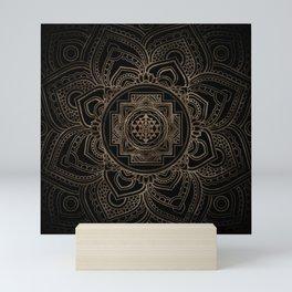 Golden Sri Yantra  / Sri Chakra in lotus Mini Art Print