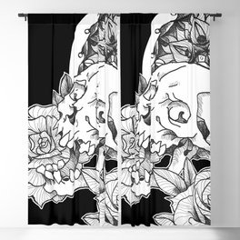 Skull and Flower Blackout Curtain