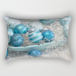 Blue  turquoise christmas baubles and bowl Rectangular Pillow