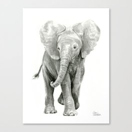 Baby Elephant Watercolor Canvas Print
