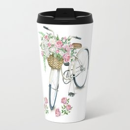 Vintage White Bicycle with English Roses Travel Mug