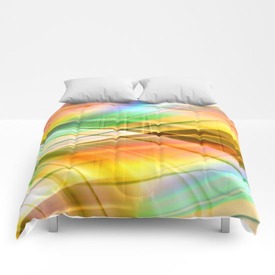 pattern pastel yellow and green Comforters