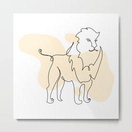 Lion mono line art & Bohemian banana yellow drops Metal Print