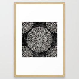 MANDALA ON BLACK MARBLE Framed Art Print