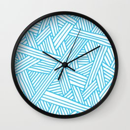 Abstract Teal & white Lines and Triangles Pattern-Mix and Match with Simplicity of Life Wall Clock