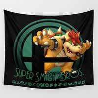 super smash bros Wall Tapestries featuring Bowser - Super Smash Bros. by Donkey Inferno