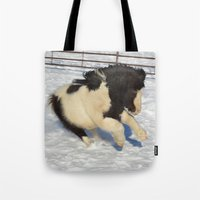 sassy Tote Bags featuring Sassy pony by North 10 Creations